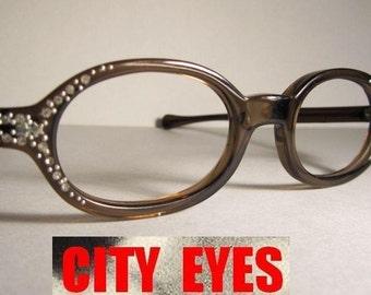 1960s Oval Rhinestones Tortoise CatEyes vintage optical frames eyeglasses eye glasses sunglasses eyewear eye wear cat eye cateye 1950s NOS