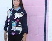 Vintage Cat Sweater Kitten Cardigan
