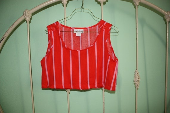 Vintage Neon Cropped Tank-top with Red and Pink Stripes