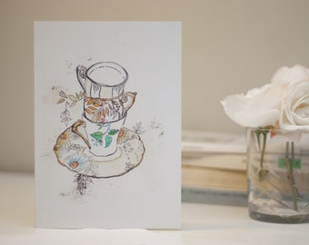 Mother's Day // Floral Stacked Tea Cup Illustrated Greeting Card on Recyled Paper