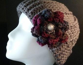 Crochet Hat with Interchangeable Flowers