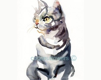 Watercolor Custom Pet Portrait - Custom Portrait -  Animal  Painting -10x8in -    Cats