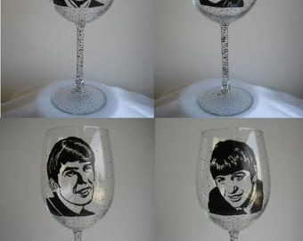 Hand Painted Wine Glass - Set of 4 - The BEATLES