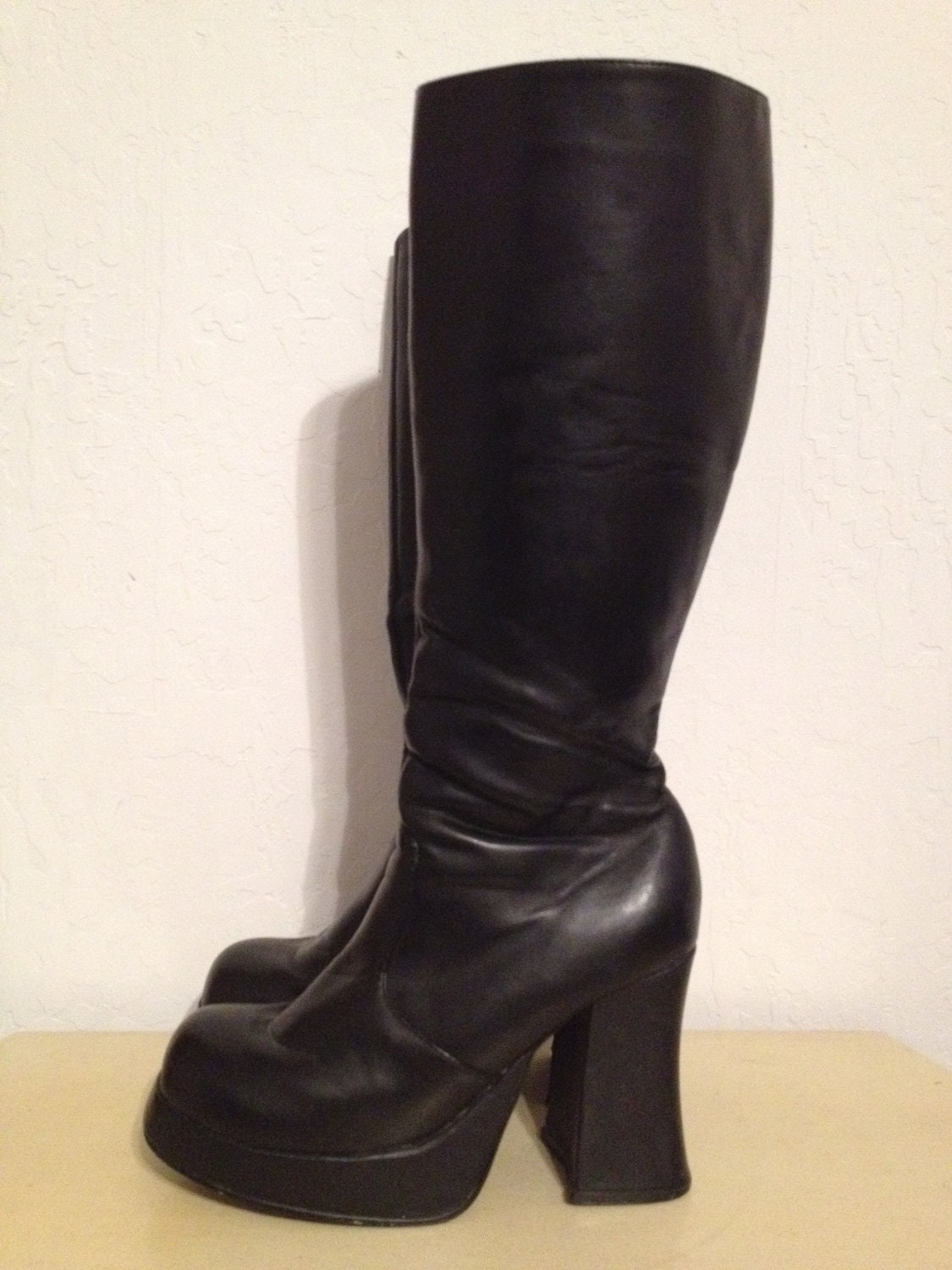 Vintage 90s Black Chunky Platform Boots Knee High 8 5