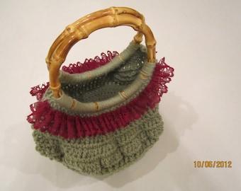 Green Crochet Purse - Bamboo Handle Handbag - Olive