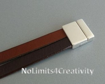 2 clasps - 20mm zamak magnetic clasp for flat leather  - clasps for leather (ZC19)
