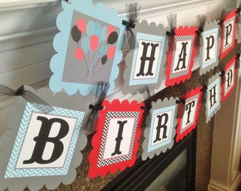 Ballon Party Happy Birthday Banner - Light Blue & Black Chevron with Gray and Red accents - Party Packs Available