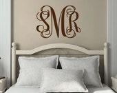 Monogram Wall Decal - Personalized Three Initial Vinyl Wall Decal for Master Bedroom Baby Girl Nursery or Wedding Decor 22H x 28W MB001