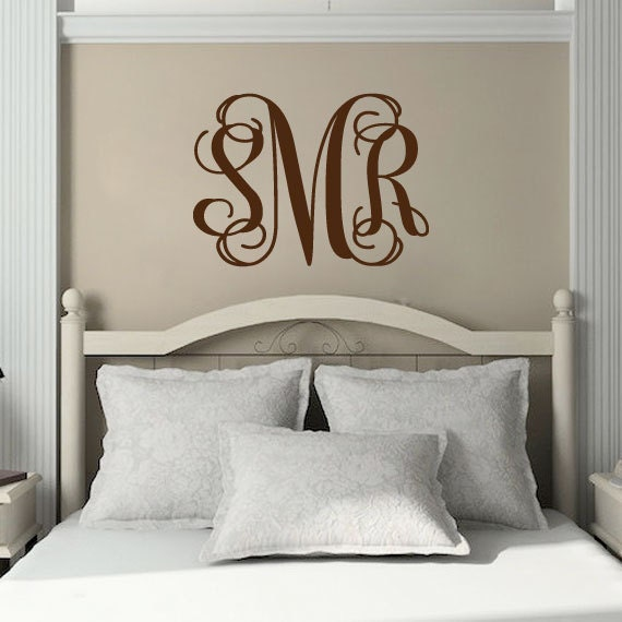 Initial Wall Decor: Monogram Wall Decal Personalized Three Initial By