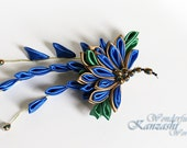 Peacock Kanzashi Fabric Flower Hair Pin Barrette - wonderfulkanzashi