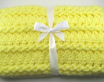 PDF Pattern Crocheted Baby Afghan, CAR SEAT Size and Newborn Size Blanket -- Lemon Twist