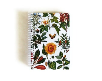 Botanical Print Cute A6 Notebook, Blank Sketchbook, Spiral Bound Journal Pocket, Garden, Gifts Under 15, Industrial Plants Sunflower Flowers