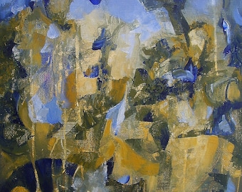 "Painting, original automatist fine art, gold, ochre, blue, 16 x 12 inches, ""Rich and Strange"""