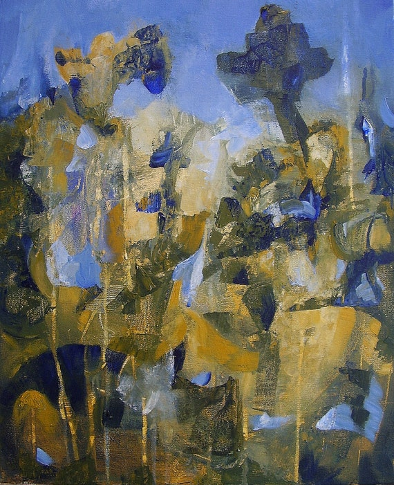 """Painting, original automatist fine art, gold, ochre, blue, 16 x 12 inches, """"Rich and Strange"""""""