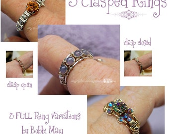 DIY Wire Wrap Ring, Wire Wrap Clasp Rings Tutorial, 3 FULL VARIATIONS, Wire Jewelry Tutorial Discount Package, Instant Download Pdf Files