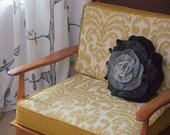 Charcoal Gray Ombre Ruffle Rose Pillow - Small