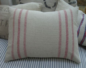 French Cottage Down Pillow /Red Stripe/Natural Linen/Handmade Pillow/Paris Shabby Chic/Neutral/Lumbar Pillow/Throw Pillow