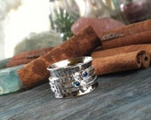 hand stamped Birthstone sterling silver spinner ring mothers ring