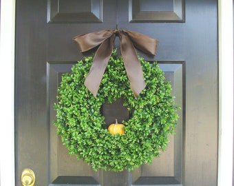 Fall Wreath, Pumpkin Fall Wreath, Thanksgiving Decor, Boxwood Wreath, Etsy Wreath, Fall Decor