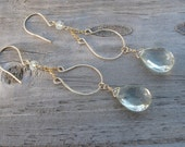 Green Amethyst Earrings- Harp Design, Gold Filled, Hammered Wire