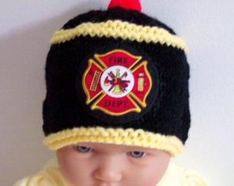 Custom handmade knit Fireman, firefighter, fire rescue, baby hat cap beanie-, badge of courage appliqued shield