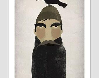 Lumberjack and Crow - Original Graphic Art GICLEE PRINT 9x12 SIGNED