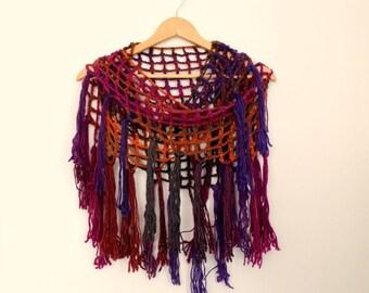 Shawl - Crochet Scarf - Knit Shawl - Orange Red Shawl - Wool Winter Shawl - Triangle Fishnet Shawl - Wool Scarf -Colorful Shaw -Wrap Scarf