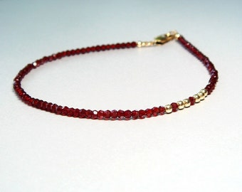 The Red Bracelet, Tiny, Delicate, Sexy, Slim, Swarovski Crystal, Swarovski Jewelry, Blood, Minimalist, Made to Order Choose Gold or Silver