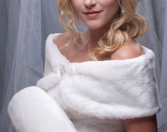 "Custom 6"" wide faux fur wrap and muff set wedding winter formal shawl shrug and regular size hand warmer"