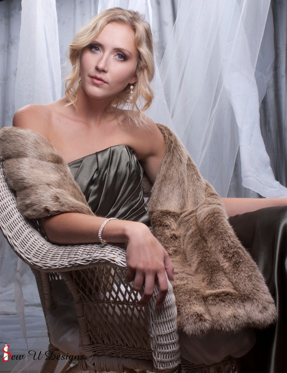 Light Brown faux fur Stole Winter Wedding shawl Bridesmaids wrap THREE grooved rows wide