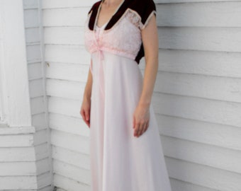 Maxi Dress Velvet Lace Vintage 70s XS Pink Burgundy Romantic