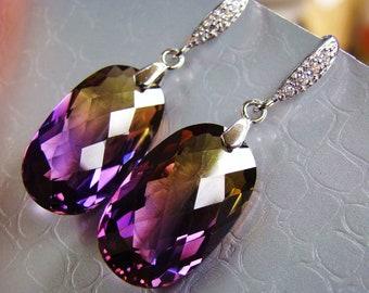 Sale Luxury Ametrine Earrings. Sterling Silver Pave French hooks.  Elegant jewelry