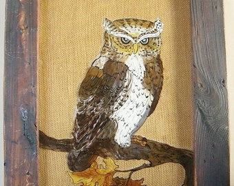 Vintage Framed Reverse Glass Owl Painting 15 x 12
