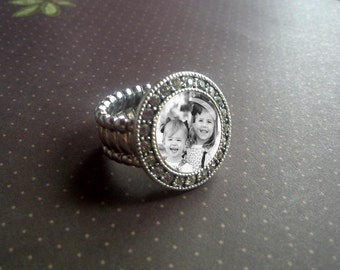 Personalized Ring, adjustable, custom photo with Twinkle CZ accent, personalized, photo jewelry