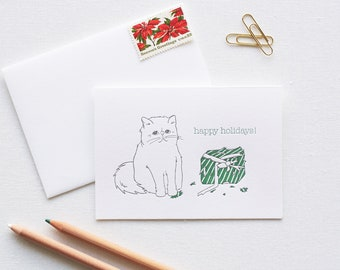Happy Holiday Persian Cat Letterpress Box of 6 Cards