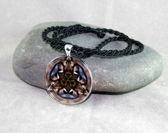 Mandala Pendant Necklace Chickadee Boho Chic Sacred Geometry Hippie Kaleidoscope Unique Gift For Her Mod Gypsy New Age Chipper Chickadee