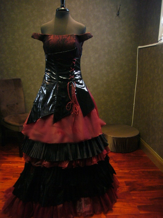 Black and vampire red gothic wedding dress by for Black gothic wedding dress