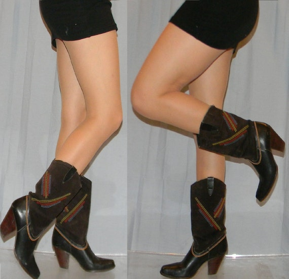 AMAZING vintage rainbow stitched sexy cowgirl boots sz 7 7.5