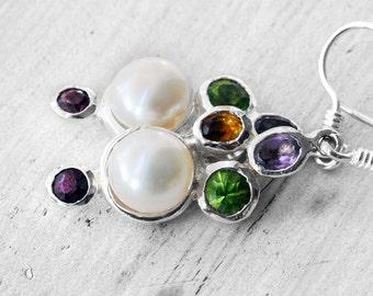 Pearl Earrings, Dangle Sterling Silver & Gemstones Earrings, Pearl Anniversary, Statement Glamorous Bijoux, Pearl Jewelry Gift Idea For Her