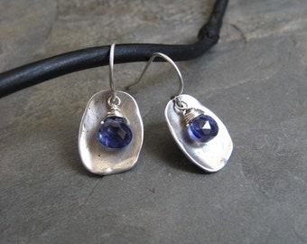 Iolite earrings, water sapphire, iolite briolettes, organic earrings, blue gemstone, faceted drops