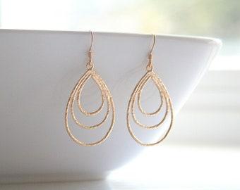 Gold or Silver, dangle, everyday, teardrop, earrings - GOLD / SILVER Dangle