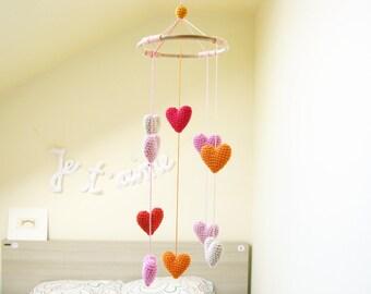 Heart Baby Mobile, Baby Girl Mobile, Nursery Mobile, Crib Heart Mobile, Baby Shower Gift, Heart Chandelier