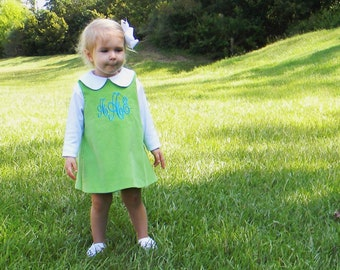 Girls Monogrammed Lime Green Corduroy Jumper Dress (Size 6 month to Girls Size 6)