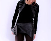 Black Leather Banderol Skirt/Belt with Pocket, Size 10, Eco Design, made from recycled leather