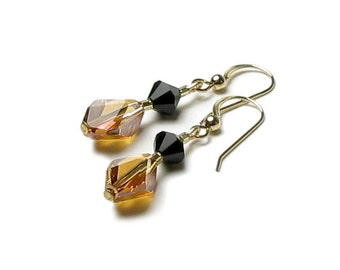 Crystal Copper & Jet Black Swarovski Crystal 14k Gold Filled Drop Earrings Wild Jungle Tiger Animal Inspired Glamour Date Jewelry For Women