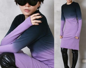 SALE 19.99 RTBU Cotton Punk Dip Tie Dye Gradient Long Sleeve T Shirt PJS Dress Tunic Purple