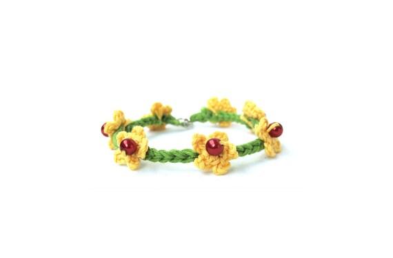 Crochet anklet bracelet summer flowers, barefoot fiber jewelry