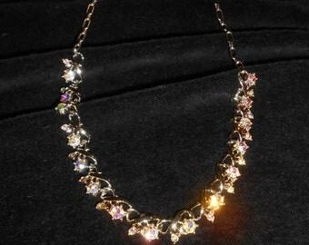 Vintage Rhinestone necklace-AB rhinestonejewelry-signed Star-Fiery Aurora Borealis Rhinestones choker length necklace ladies sparkly stones