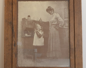 Signed R. HENDRICKSON Print in Rustic Wood Frame - Mother Watches Daughter Lick Spoon in Kitchen - Collectible Art - Sepia Early 1900s Scene