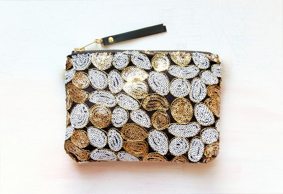 SALE. G O L D Sequin Clutch. Gold White Sequin and Velvet Pouch.